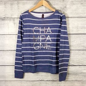 Betsey Johnson Champagne striped sweatshirt